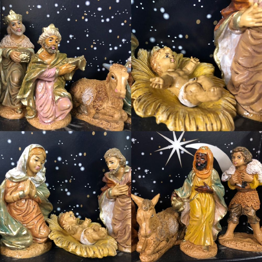 Traditional Nativity 10cm Figures Set Christmas Holy Ornament ~ 9 Figurines
